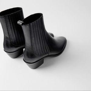 Zara Leather Black Heeled Cowboy Boots 8/EURO 39